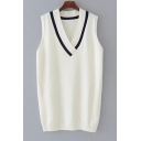 Fashion Color Block V Neck Sleeveless Pullover Knit Tank Sweater