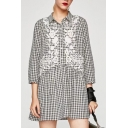 Lapel Collar Long Sleeve Floral Embroidered Plaids Pattern Mini Smock Dress