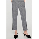 Casual Leisure High Waist Plaids Pattern Loose Tapered Pants
