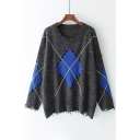 New Fashion Color Block Geometric Diamond Pattern Round Neck Long Sleeve Sweater