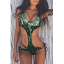 Hot Fashion Sexy Plunge Neck Sleeveless Sequined Cut Out One Piece Swimwear