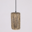 Industrial Wooden Pendant Light with Cylinder Shade