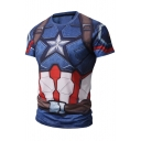 Hot Popular Digital Cartoon Printed Round Neck Short Sleeve Sports Tee