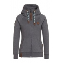 Hot Fashion Casual Leisure Long Sleeve Warm Zip Up Slim Hoodie