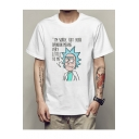 Round Neck Short Sleeve Chic Cartoon Printed Unisex T-Shirt