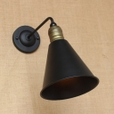 Vintage Wall Sconce with Conical Shade, Matte Black