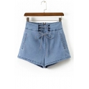 New Collection High Waist Lace-Up Zip Up Simple Plain Loose Denim Shorts