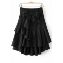 New Arrival Fashion Bow Tie Waist Zip Side Layered Ruffle Hem Plain Midi A-Line Skirt