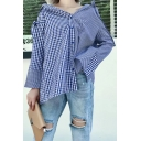 New Stylish Asymmetrical Hem Classic Plaids Printed Long Sleeve Buttons Down Shirt
