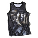 New Stylish 3D Skull Monster Printed Round Neck Breathable Sports Tank Tee