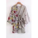 New Stylish Asymmetric Hem Floral Printed Long Sleeve Tied Wrap Top