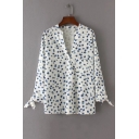 Chic Single Breasted V-Neck Floral Printed Color Block Casual Shirt with One Pocket