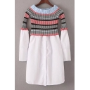 New Stylish Striped Printed Boat Neck Long Sleeve Mini A-Line Detachable Dress