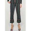 New Arrival Chic Striped Pattern Elastic Waist Loose Wide Legs Pants