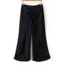 New Stylish Knotted Waist Zip Side Fashion Split Hem Plain Wide Legs Pants