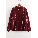 Retro Fashion Beaded Buttons Down Round Neck Long Sleeve Comfort Cardigan