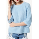 Casual Leisure Simple Plain Round Neck Long Sleeve Pullover Sweater