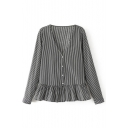 V-Neck Long Sleeve Button Down Ruffle Hem Striped Blouse