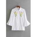 Embroidery Floral Pattern Bell Long Sleeve Single Breasted Shirt