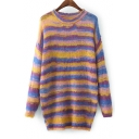 Color Block Striped Long Sleeve Round Neck Tunic Pullover Sweater