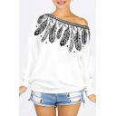 Sexy Off the Shoulder Feather Printed Long Sleeve Pullover Sweatshirt