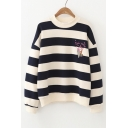 Chic Cartoon Embroidered Striped Pattern Round Neck Long Sleeve Sweatshirt