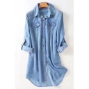 Comfortable Long Sleeve Lapel Single Breasted Plain Mini Denim Dress