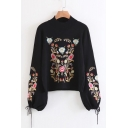 Chic Floral Embroidered Mock Neck Lantern Sleeve Pullover Sweater