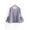 Chic Bell Long Sleeve Round Neck Plaid Blouse