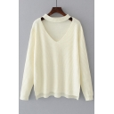 Basic Simple Plain V Neck Long Sleeve High Low Hem Pullover Sweater