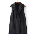 Classic Striped Pattern Notched Lapel Collar Sleeveless Split Side Vest Coat