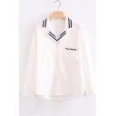 Chic Letter Embroidered Pocket Notched Lapel Collar Long Sleeve Buttons Down Shirt