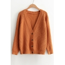 Retro Basic Simple Plain V Neck Buttons Down Long Sleeve Cardigan