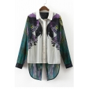 Color Block Parrot Printed Split Back High Low Hem Single Breasted Shirt