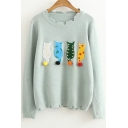 New Collection Cartoon Cat Patched Round Neck Long Sleeve Sweater