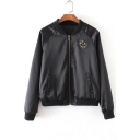 Fashion Beetle Beaded Stand Up Collar Long Sleeve Zip Up Baseball Jacket