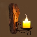 Industrial Mini Wall Lamp with Wooden Lamp Base in Foot Shape