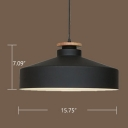 Industrial Pendant Light with Cylinder Shade in Black and Wood Finished for Warehouse