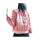 Fashion Letter Printed Stand-Up Collar Zip Up Bomber Jacket