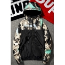 Chic Color Block Camouflage Pattern Hooded Zip Up Parka Coat for Couple