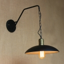 Vintage Wall Sconce Dome Shade Warehouse Style