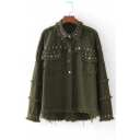 Fresh Rivet Detail Fringe Trim Lapel Single Breasted Plain Denim Jacket