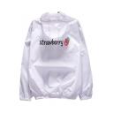 Lovely Cartoon Strawberry Pattern Back Hooded Long Sleeve Zip Up Coat