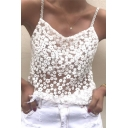 Summer's New Collection Chic Lace Hollow Out Spaghetti Straps Cami Top