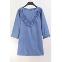 Round Neck Half Sleeve Chic Ruffle Hem Simple Plain Denim Mini Shift Dress