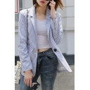 Classic Striped Pattern Notched Lapel Collar Long Sleeve Blazer Coat with Single Button