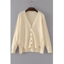 Fashion High Low Hem Simple Plain Long Sleeve Buttons Down Comfort Cardigan