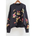 Fashion Floral Embroidered Dipped Hem Long Sleeve Round Neck Sweater