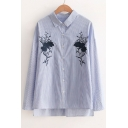 Fashion Embroidery Floral Pattern High Low Hem Single Breasted Striped Shirt