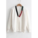 Ruched Contrast V-Neck Long Sleeve Single Breasted Cardigan